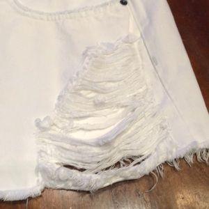 Carmar Skirts - Carmar Margery White Denim Distressed Mini Skirt